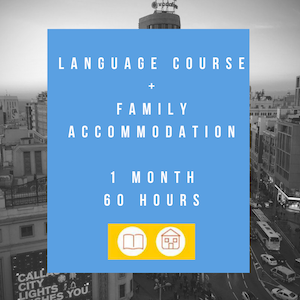 Language course+family hosting accommodation (1 month+60 hours)